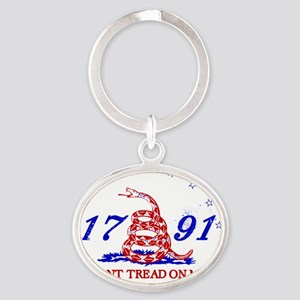 Red Snake on White - Red White and B Oval Keychain