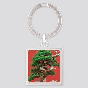 Juniper bonsai Square Keychain