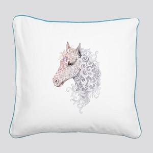 Horse Head Tattoo Square Canvas Pillow