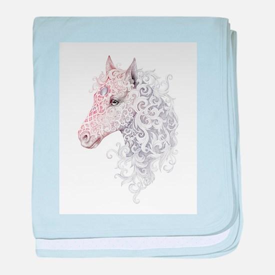 Horse Head Tattoo baby blanket