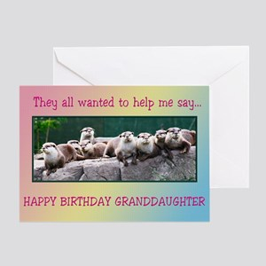 For granddaughter, otter family birthday Greeting