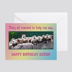 For sister, otter family birthday Greeting Cards