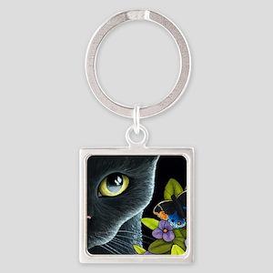 Cat 557 Square Keychain