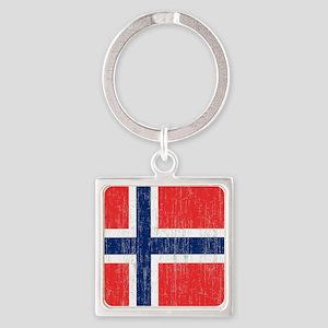 Vintage Norway Flag King Duvet Square Keychain