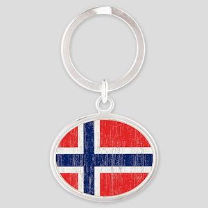 Vintage Norway Flag King Duvet Oval Keychain