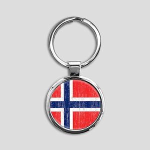 Vintage Norway Flag King Duvet Round Keychain