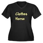 Clothes Horse Women's Plus Size V-Neck Dark T-Shir