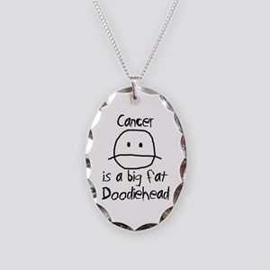 Cancer is a Big Fat Doodiehead Necklace Oval Charm