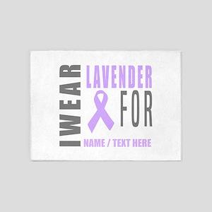 Lavender awareness Ribbon 5'x7'Area Rug