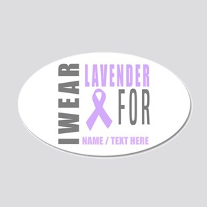 Lavender awareness Ribbon 20x12 Oval Wall Decal