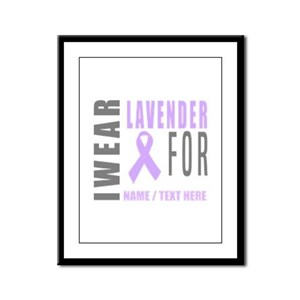 Lavender awareness Ribbon Framed Panel Print