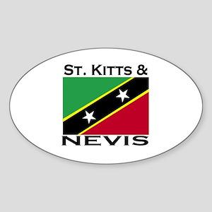 St. Kitts & Nevis Flag Oval Sticker