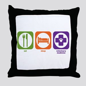 Eat Sleep Veterinary Medicine Throw Pillow