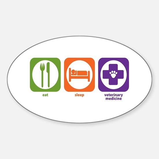Eat Sleep Veterinary Medicine Oval Decal