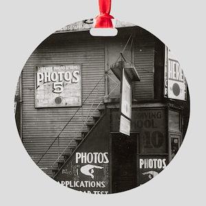 License Photo Studio Round Ornament