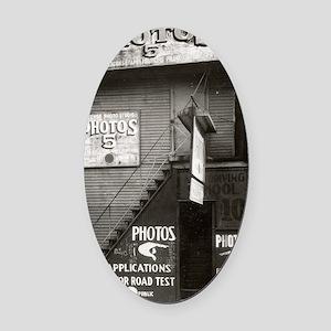 License Photo Studio Oval Car Magnet