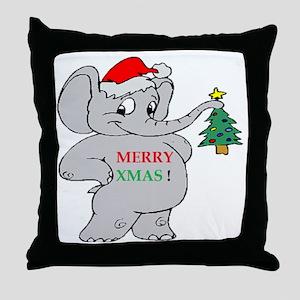 MERRY XMAS ELEPHANT Throw Pillow