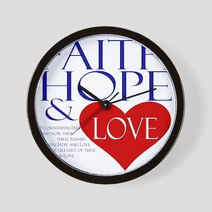Faith Hope and Love Wall Clock