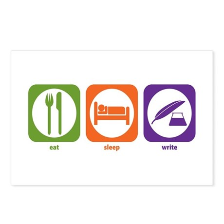 Eat Sleep Write Postcards (Package of 8)