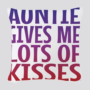 Auntie Gives Me Lots Of Kisses Woven Throw Pillow