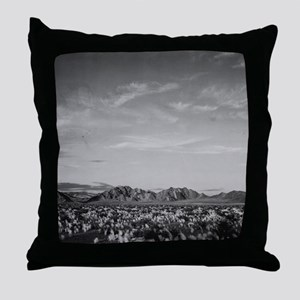 Ansel Adams Distant view of mountains Throw Pillow