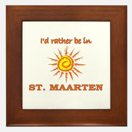 I'd Rather Be In St. Maarten Framed Tile