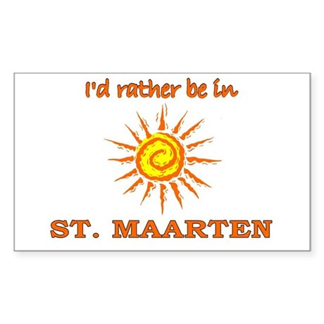 I'd Rather Be In St. Maarten Rectangle Sticker