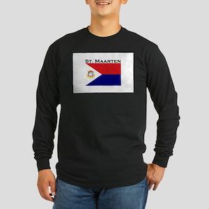 St. Maarten Flag Long Sleeve Dark T-Shirt