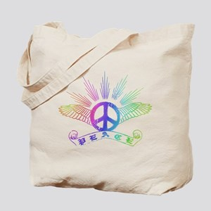 Peace Sign with Wings Rainbow Tote Bag