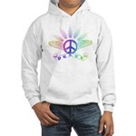 Peace Sign with Wings Rainbow Hooded Sweatshirt