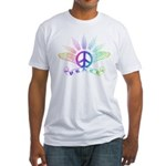 Peace Sign with Wings Rainbow Fitted T-Shirt