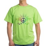 Peace Sign with Wings Rainbow Green T-Shirt