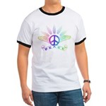 Peace Sign with Wings Rainbow Ringer T