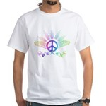 Peace Sign with Wings Rainbow White T-Shirt