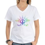 Peace Sign with Wings Rainbow Women's V-Neck T-Shi
