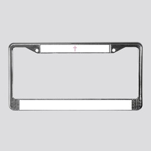 Pink Easter Cross License Plate Frame