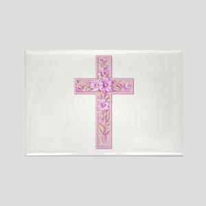 Pink Easter Cross Rectangle Magnet