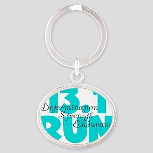 13.1 Run Aqua Oval Keychain