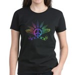 Peace Sign with Wings Rainbow Women's Dark T-Shirt
