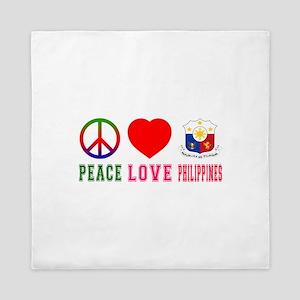 Peace Love Philipines Queen Duvet