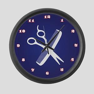 Comb & Scissors Large Wall Clock