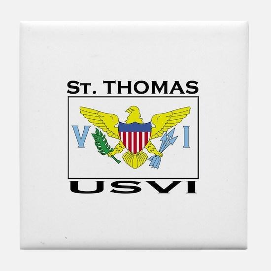St. Thomas, USVI Flag Tile Coaster