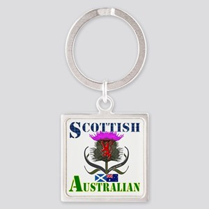 Scottish Australian Thistle Design Square Keychain