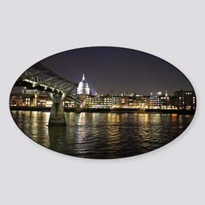 London St. Pauls by Thames Night Sticker (Oval)