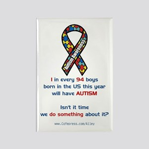 1 in 94 Autism Rectangle Magnet