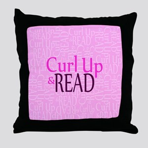 Curl Up and Read Pink Throw Pillow