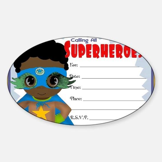 African American Boy Superhero Invi Sticker (Oval)