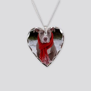 Holiday Pit Bull Necklace Heart Charm
