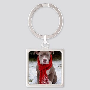 Holiday Pit Bull Square Keychain
