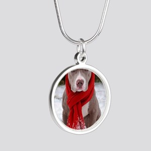 Holiday Pit Bull Silver Round Necklace
